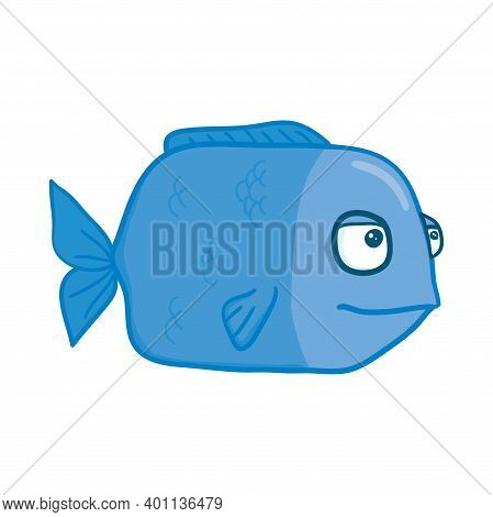 Vector Aquarium Fish Silhouette Illustration. Colorful Cartoon Flat Aquarium Fish Icon For Your Desi