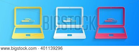 Paper Cut Laptop Update Process With Loading Bar Icon Isolated On Blue Background. System Software U