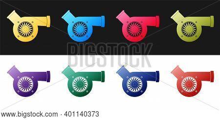 Set Automotive Turbocharger Icon Isolated On Black And White Background. Vehicle Performance Turbo.