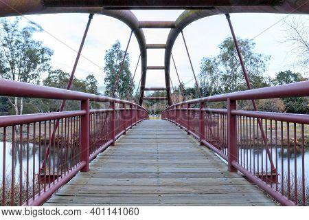 Footbridge At Vasona Lake County Park. Los Gatos, Santa Clara County, California.