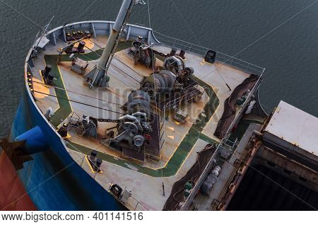 Bulk Carrier - Birds Eye View Of The Prow And Hold