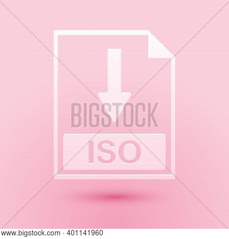 Paper Cut Iso File Document Icon. Download Iso Button Icon Isolated On Pink Background. Paper Art St