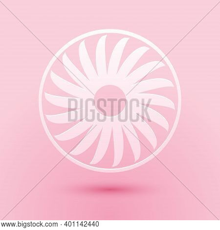 Paper Cut Ventilator Symbol Icon Isolated On Pink Background. Ventilation Sign. Paper Art Style. Vec