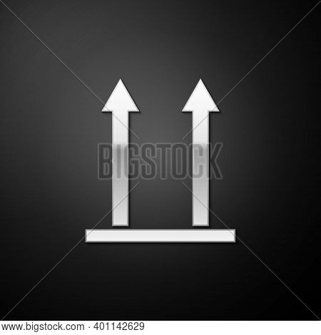 Silver This Side Up Icon Isolated On Black Background. Two Arrows Indicating Top Side Of Packaging.