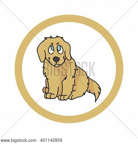 Cute Cartoon Golden Retriever In Dotty Circle Puppy Vector Clipart. Pedigree Kennel Doggie Breed For