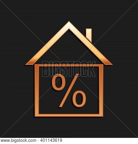 Gold House With Discount Tag Icon Isolated On Black Background. House Percentage Sign Price. Real Es