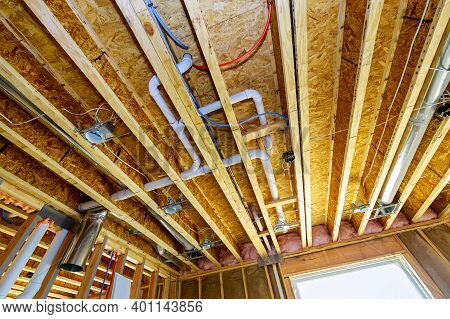 Pvc Waste Water System Rough Plumbing Drainage Pipe And Fitting Complete Under Construction New Home