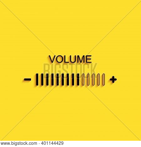 Black Volume Adjustment Icon Isolated On Yellow Background. Long Shadow Style. Vector