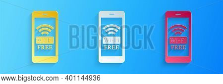 Paper Cut Smartphone With Free Wi-fi Wireless Connection Icon Isolated On Blue Background. Wireless