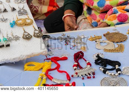 Various Shapes And Shades Of Necklaces , Handicrafts On Display During The Handicraft Fair In Kolkat