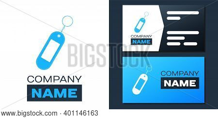 Logotype Key Chain Icon Isolated On White Background. Blank Rectangular Keychain With Ring And Chain