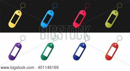 Set Key Chain Icon Isolated On Black And White Background. Blank Rectangular Keychain With Ring And