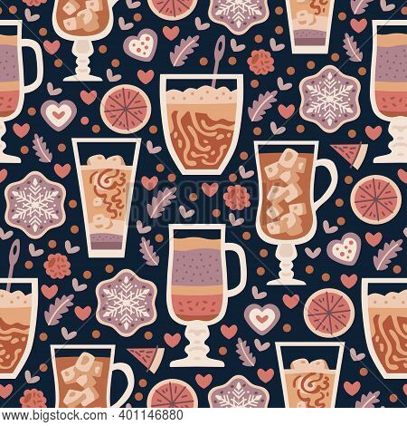 Coffee Shop Sweets Seamless Pattern. Cacao Drink. Cafe Background. Delicious Cappuccino In Cup With