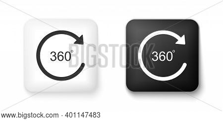 Black And White Angle 360 Degrees Icon Isolated On White Background. Rotation Of 360 Degrees. Geomet