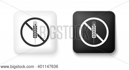 Black And White Gluten Free Grain Icon Isolated On White Background. No Wheat Sign. Food Intolerance