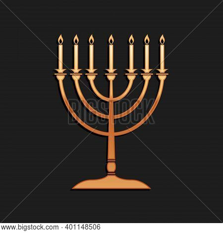 Gold Hanukkah Menorah Icon Isolated On Black Background. Religion Icon. Hanukkah Traditional Symbol.