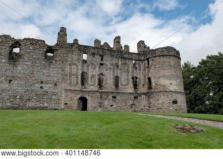 Ruins Of Balvenie Castle Near Dufftown In Scotland, United Kingdom With The Blue Sky