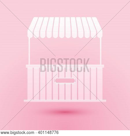Paper Cut Street Stall With Awning And Wooden Rack Icon Isolated On Pink Background. Kiosk With Wood