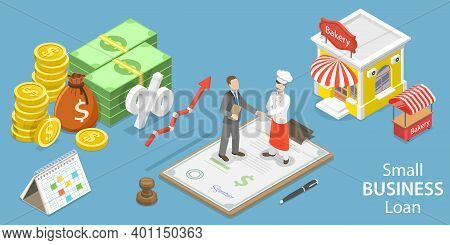 3d Isometric Flat Vector Conceptual Illustration Of Small Business Loan.