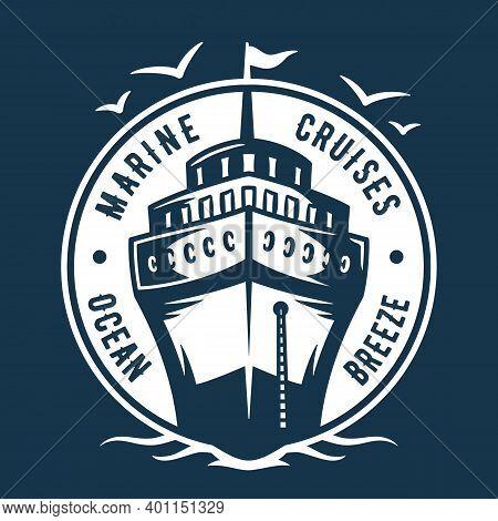 Marine Cruiser And Seagull Logo. Nautical Sea Art
