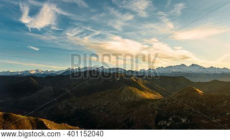 Spectacular Panoramic View Of The Cantabrian Mountains And The Picos De Europa At Sunset. Landscapes
