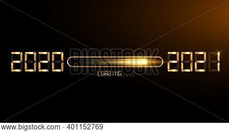 Happy New Year 2020 With Loading To Up 2021. Gold Led Neon Digital Time Style. Progress Bar Almost R