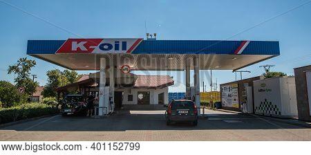 Central Bohemia, Czech Republic, 09-11-2020. K-oil, Lobecek. Gas Station In Prague And In The Outski