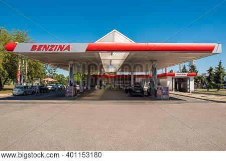 Central Bohemia, Czech Republic, 09-11-2020. Benzina Lobecek. Gas Station In Prague And In The Outsk