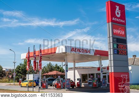 Central Bohemia, Czech Republic, 09-11-2020. Benzina Gas Station. Gas Station In Prague And In The O