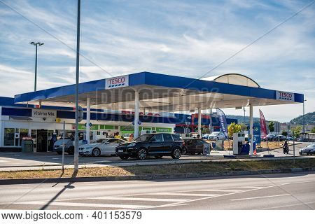 Central Bohemia, Czech Republic, 09-11-2020. Tesco Gas Station In Prague And In The Outskirts (bohem