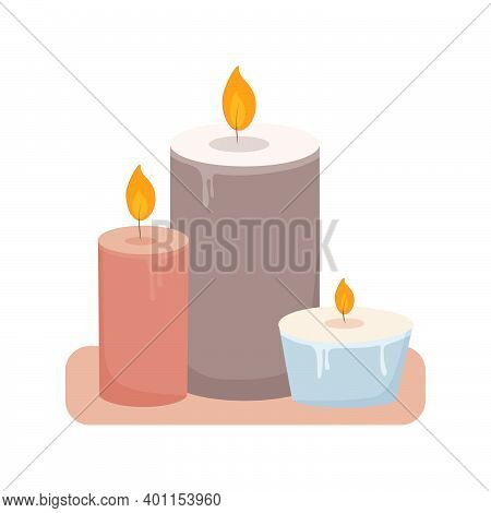 Burning Paraffin Wax Aromatic Scented Candles. Aromatherapy And Relaxation For Spa. Cute Home Decora