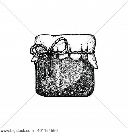 Jar Of Jam, Honey, A Beekeeping Product Isolated On White Background. Close-up Graphic Illustration.