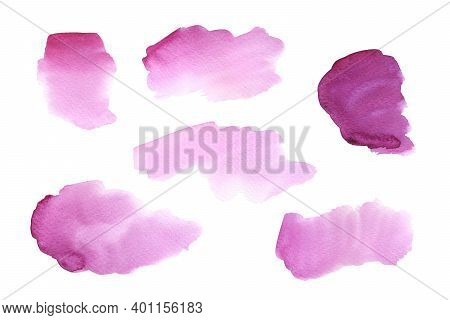 Set Of Abstract Pink And Purple Watercolor Blots. Hand Drawn Illustration Isolated On White Backgrou