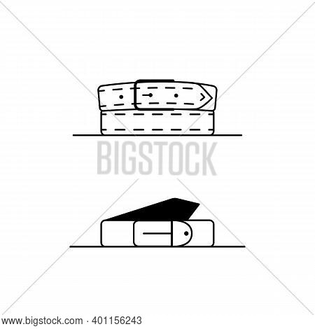 Belt Outline Icons. 2 Vector Linear Icons Of Leather Belts. Black And White Simple Illustrations Of