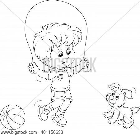 Happy Little Boy Jumping Rope With His Small Cute Pup, Black And White Outline Vector Cartoon Illust