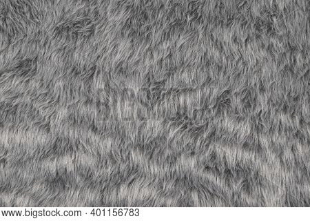 Gray Fur Texture Background, Top View Of Furry Cloth Pattern