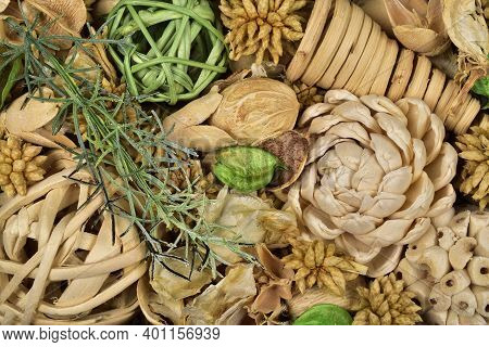 Top View Of Potpourri With Twig Balls And Pinecones, Potpourri Texture Background