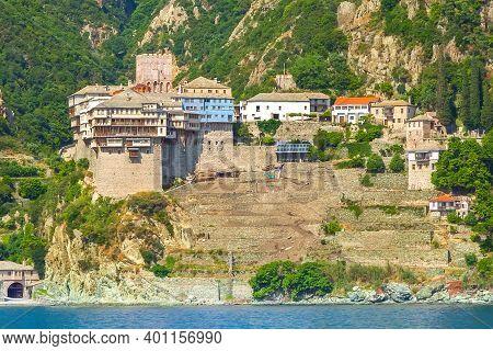 Close Up Agia Grigoriou Orthodox Monastery At Mount Athos, Agion Oros, Holy Mountain, Halkidiki, Gre