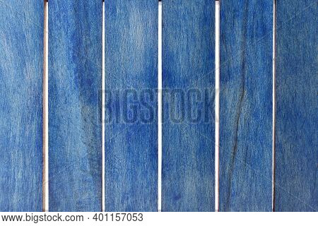 Closeup Of Blue Wooden Stripes Isolated On White Background, Top View Of Blue Wood Plank Texture Bac
