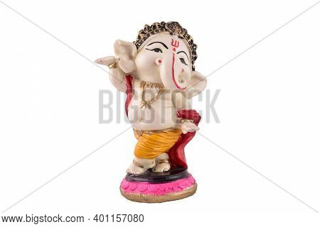 Ganesha Statue Isolated On White Background With Clipping Path, Jai Ganesh