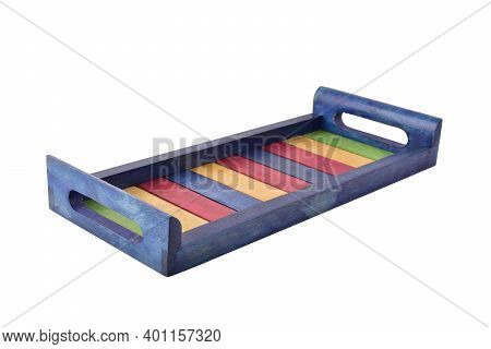 Colorful Wooden Serving Tray Isolated On White Background With Clipping Path, Steam Beech Wood Tray