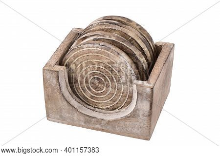 Wooden Coasters In Stand Isolated On White Background With Clipping Path