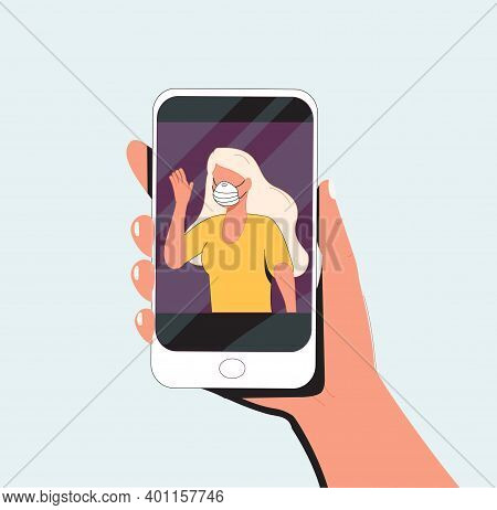 Human Hand Holding Smart Phone Video Call On The Screen With Elderly Family Member, Mother, Granny,