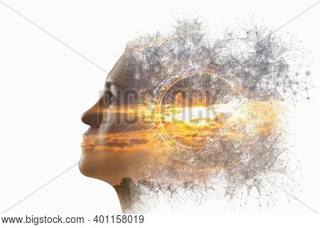 Concept Of Thinking And Brainstorming. Head Of Woman On Background Of Sunny Sunset Isolated On White