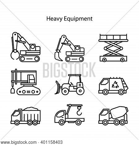 Construction Machinery. Heavy Road Equipment Trucks, Forklifts And Tractors, Excavation Crane Truck