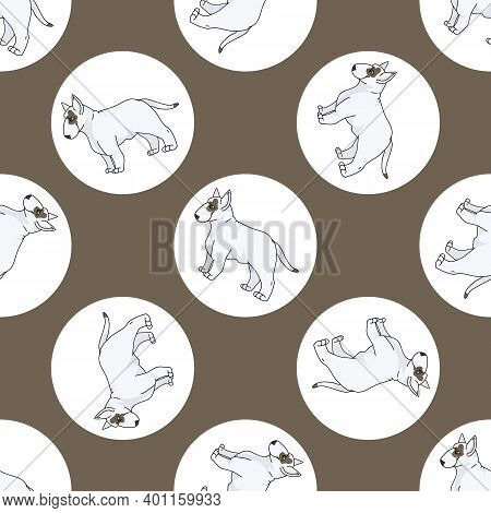 Hand Drawn Cute Bull Terrier Dog Breed In Polka Dot Seamless Vector Pattern. Purebread Pedigree Pupp