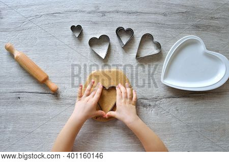 Diy Making Gingerbread By Kid For Valentine's Day For Parents. Baking Training For Children From 4 T
