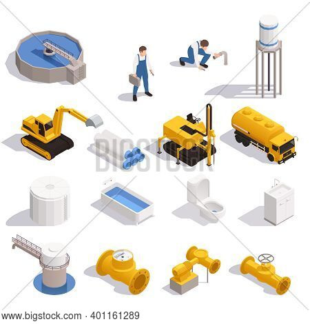 Water Supply Isometric Set With Purification Reservoir Pipeline Digger Excavator Tower Bathtub Toile
