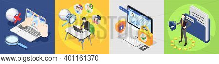 Personal Data Protection Gdpr Isometric 4x1 Design Concept With Pictogram Icons Images Of Computer A