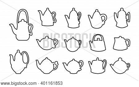 Vector Set Of Coffee And Tea Kettles Doodle. Liluets Of Teapots Are Round And Rectangular. Stencils